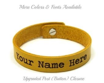 Personalized Bracelet, Engraved Bracelet, Custom Leather Bracelet, Laser Engraved Bracelet, Upgraded Post (Button) Closure, Couples Gifts