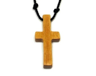 Necklaces for Men, Mens Jewelry Cross, Reclaimed Cross Necklace, Minimalist Cross Necklace, Mens Cross, Cross Pendant, Osage Orange Wood