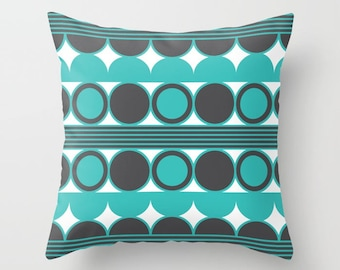 34 colours, Turquoise Pillow, Mid Century Modern Pillow, Geometric Circles, Charcoal Black pillow, Faux Down Insert, Indoor or Outdoor cover