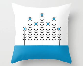 36 colours, Swedish Blue, SPRING SHOOTS Minimalist Flowers Pattern Pillow, Scandinavian style, Faux Down Insert, Indoor or Outdoor