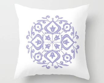 36 colours, Persian Glaze Pillow, Folk Motif, Lavender, White, Flower Pattern, Floral Motif, Faux Down Insert, Indoor or Outdoor options