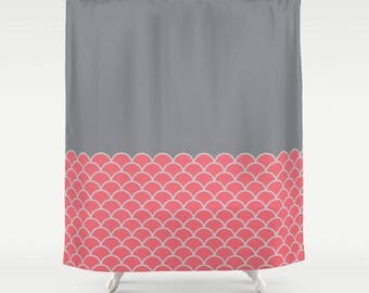 4 colour options, Sea Waves Pattern Shower Curtain, Nautical shower curtain, Sunkist Coral, Sharkskin grey, Nordic decor, Maritime decor