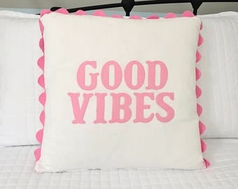 Nursery Decor Girl Pillow Little Girl Room Decor Baby Gift Good Vibes Pillow Organic Cotton Pillow