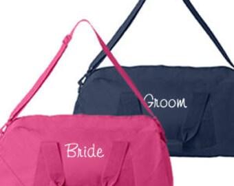 Monogram Bride and Groom Duffle Bag, Monogram Gym Bag, Monogram Dance Bag,Monogrammed Cheer Bag, Monogram Sports Duffle, Duffle Bags