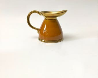 Vintage Lord Nelson Pottery Pitcher, England, Caramel and Copper Colors