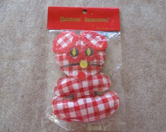 Vintage Christmas Mouse Red Gingham Fabric Ornament Holiday Decoration New Old Stock in Package