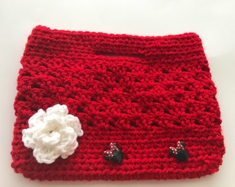 Handmade crochet red mini bag with Minnie Mouse button and flower