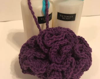 Handmade Purple Crochet Bath Pouf gift for her or her under 10 gift basket idea made with 100% cotton yarn
