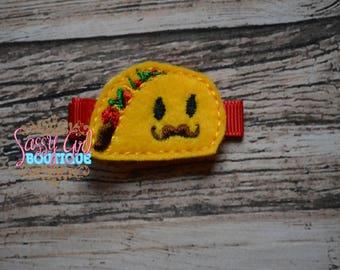 Food Felt Hair Clips - Girls Hair Accessories - Boutique-Embroidered Felt Taco Hair Clippie - Mustache Taco Felt Hair Clippy-No Slip Grip