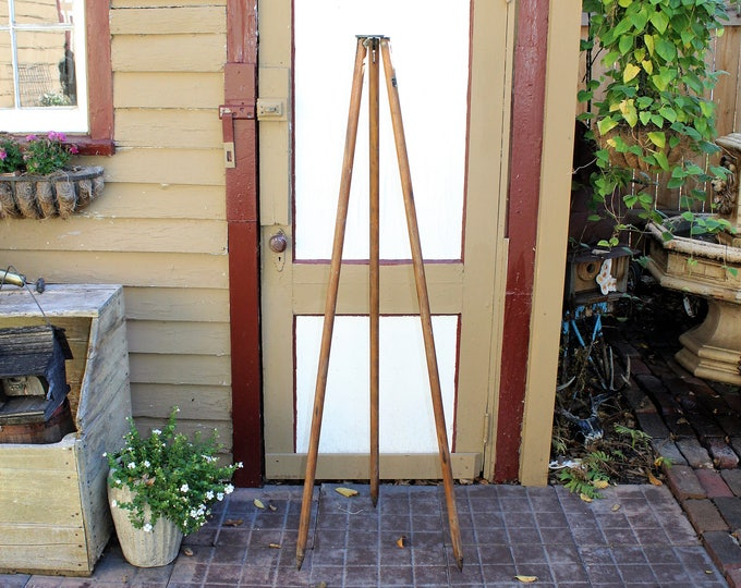 Vintage Wood Surveyor Tripod Base Stand Rustic Industrial Lamp Base