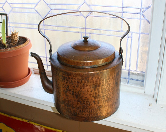 Antique Copper Tea Kettle Hand Hammered 19th Century Huge Tea Pot