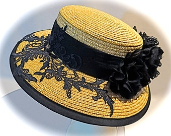 Straw Black Lace Boater Ladies Hats Accessories DH-103