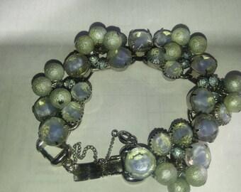 Vintage Delizza & Elster French Blue Givre Glass 1950s Juliana Jewelry Bracelet
