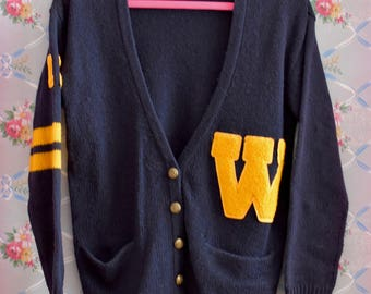 Letterman Sweater Preppy Cardigan - Navy Blue with Yellow Lettering - Buddy Holly 1950s 80s Does 50s - Size Small