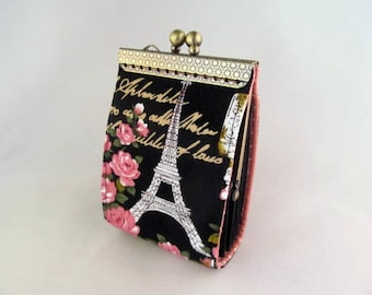 Paris Eiffel Tower Black Credit card wallet - Credit Card holder - Credit card case - Business card holder