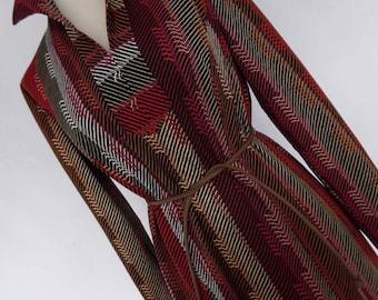 SALE :)) ART OF The LiNe . Op Art Geometric Novelty Graphics Print Midi Dress Belt 70s Hippy M L