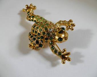 Darling Rhinestone Frog Brooch, Pin