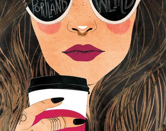 Keep Portland Weird (Brunette) - A2 Greeting Card with Envelope, woman, coffee, hipster, cool, Seattle