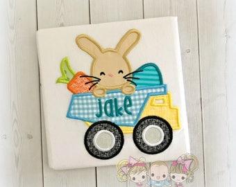 Boys Easter dump truck shirt - Dump truck with bunny - Easter bunny dump truck shirt - personalized embroidered Easter shirt for boys