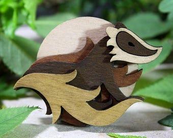 SALE Badger Brooch - Woodland Collection