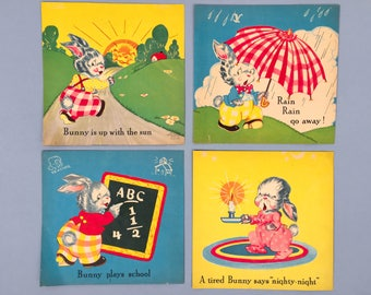 Vintage Nursery Wall Art Prints Bunnies Room Decor Bedroom Bunny Decor Children's Room Art Prints From Vintage Children's Book Wall Art Set