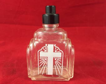 Vintage Holy Water Bottle with White Painted Cross antique glass religion faith baptism exorcism devil father priest clergy healer spirit