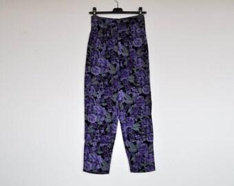 Vintage 80s Purple Floral High Waist Tapered Pants