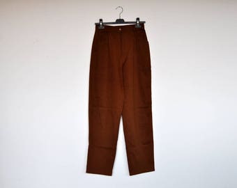 Vintage Cinammon Brown High Waist Preppy Tapered Pants