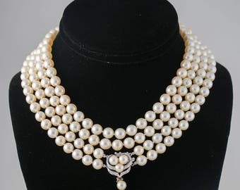 Antique Pearl Necklace 14k Clasp