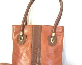 15%OFF VACATION SALE Vintage Authentic Valentina Tan and Brown Leather Satchel Made in Italy