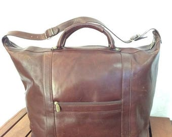 15%OFF VACATION SALE Huge Vintage Authentic Valentina Brown Leather Duffle Overnight Weekend Bag Made in Italy