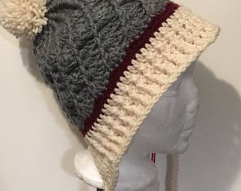 Work Sock Crotchet Toque with Brim | Crotchet Adult Hat | Pom Pom Toque