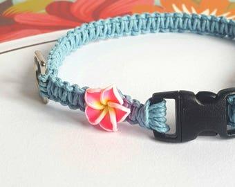 Flower Collar, Blue Hemp Pet Collar, Cat, Small Dog, Kitten, Adjustable, Boho Hemp Pet Collar