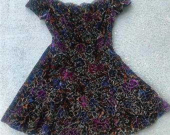 Vintage Crushed Velvet Floral Scalloped Dress