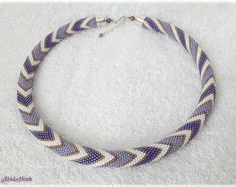 Purple and white pastel zigzags seed bead necklace elegant accessory handmade geometric zigzag pattern