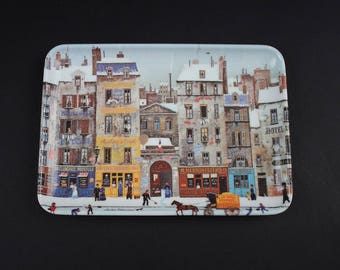 Vintage Small Plastic Serving Tray - Italian Decorative Tray - Village Scene Art Tray - Melamine RD Import Inc Serving Tray