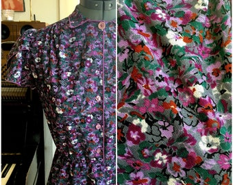 Purple Floral Fitted A-Line Dress