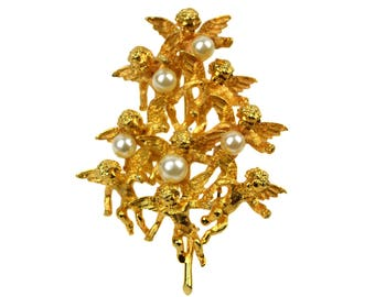 Vintage Cadoro Cherub Angel Faux Pearl Christmas Tree Brooch // Large Mid-Century 3-Dimensional Signed Figural Gilded Holiday Pin