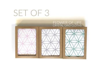 CRYSTAL GRID CLOTHS --- set of 3 --Flower of Life--- 100% cotton, all natural, sacred geometry, grid templates