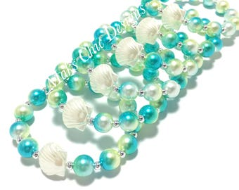 6 Small Beaded Shell Bracelet Party Favors - Girls Turquoise and Lime Green Bracelets - Kids Beach Party Bracelets - Goodie Bag Bracelets