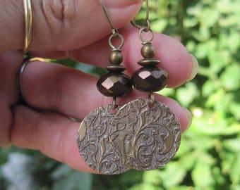 Boho Hippie Brown Faceted Bead Earrings with Vine Design Disc Charms - Brass Vine Medallion Charm Earrings