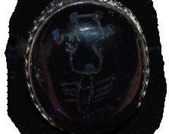 Capricorn A  Agrippa fixed star talisman  Tail of Deneb Algedi silver ring chalcedony