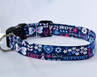 """Breast Cancer Awareness Fabric Collar - 12"""" - 17.5"""" Length, Give, Love, Support, Pink Ribbon, Hearts, Blue, White, Pink"""
