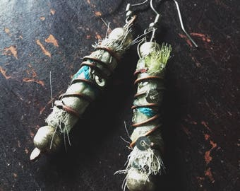 boho textile earrings   rustic boho, artisan made earrings, tattered textile jewelry, bohemian earrings, rustic earrings,  gypsy boho