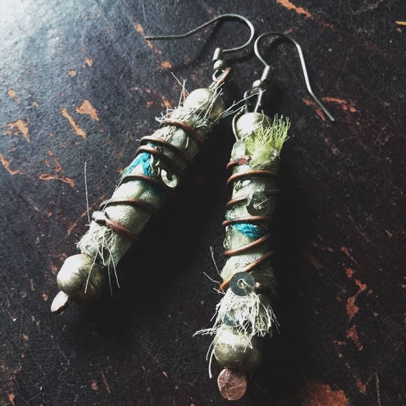 Boho tattered textile drop earrings