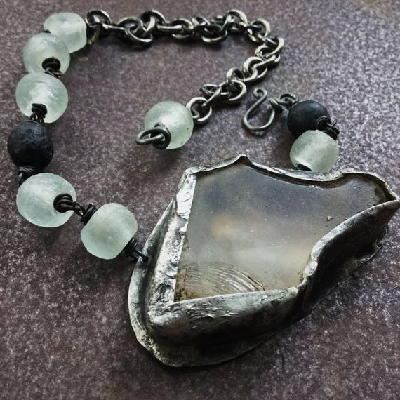 Rustic set raw quartz necklace with African recycled glass black and white beads and heavy oxidized chain