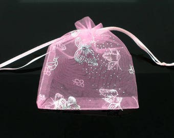 "250 Organza Bags Pink with Butterflies - 9X7cm - 3 1/2"" X 2 1/2"" - Ships IMMEDIATELY  from California - BAG56-250"