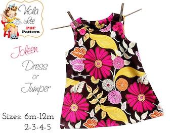 Joleen, A-line Jumper Pattern, Girls Dresses, Toddler pdf Dress Pattern, Aline Dress Pattern, Toddler Dress Pattern, Baby Patterns. Monogram