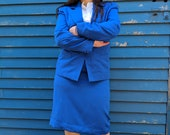 Agent Peggy Carter Blue Size 10 Linen Cosplay Skirt Suit Vintage