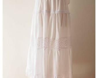 """Mid Year SALE Maxi Skirt White Boho Bohemian Skirt Long Skirt length 35"""""""